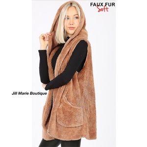 Plush hooded faux fur vest NWT